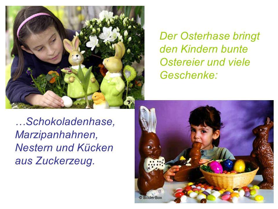 Der Osterhase bringt den Kindern bunte Ostereier und viele Geschenke:
