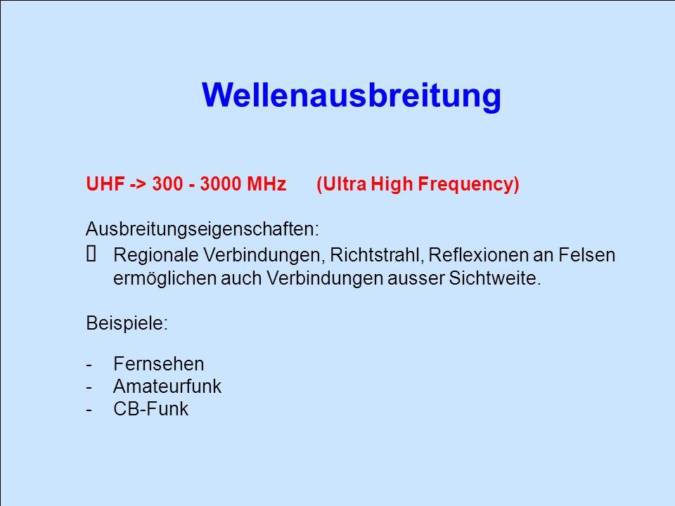 Wellenausbreitung UHF -> 300 - 3000 MHz (Ultra High Frequency) Ausbreitungseigenschaften: