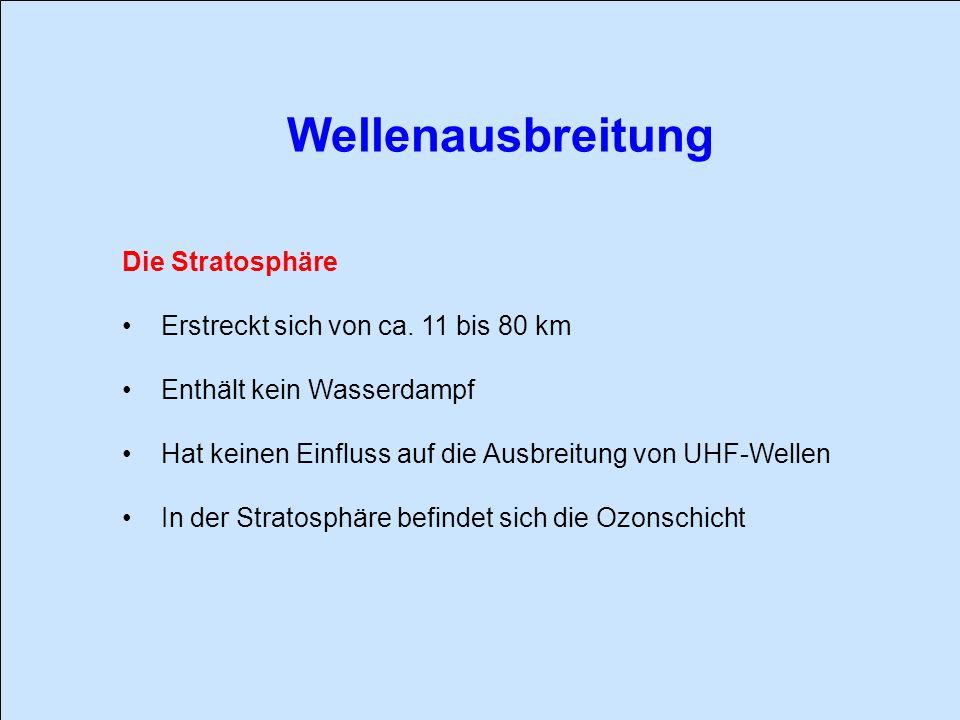 Wellenausbreitung Die Stratosphäre Erstreckt sich von ca. 11 bis 80 km
