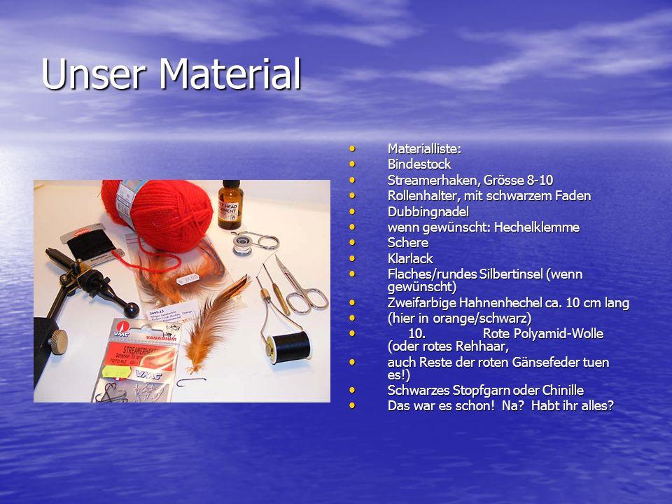 Unser Material Materialliste: Bindestock Streamerhaken, Grösse 8-10