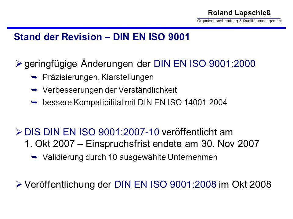 Stand der Revision – DIN EN ISO 9001