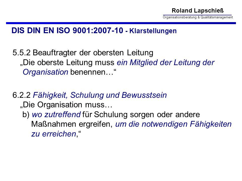 DIS DIN EN ISO 9001:2007-10 - Klarstellungen