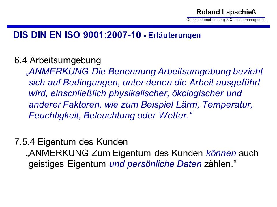 DIS DIN EN ISO 9001:2007-10 - Erläuterungen