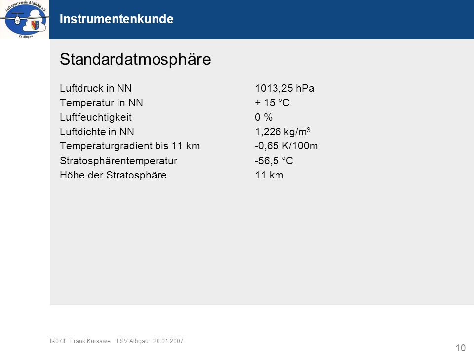 Standardatmosphäre Instrumentenkunde Luftdruck in NN 1013,25 hPa