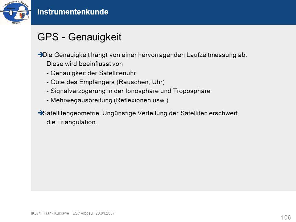 GPS - Genauigkeit Instrumentenkunde