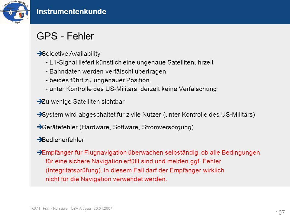 GPS - Fehler Instrumentenkunde