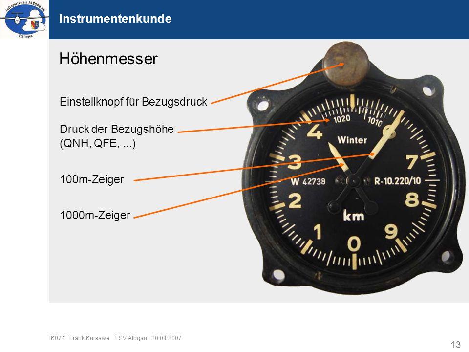 Höhenmesser Instrumentenkunde Einstellknopf für Bezugsdruck