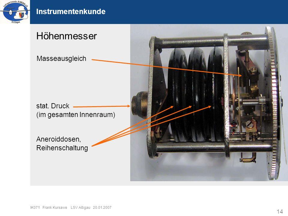 Höhenmesser Instrumentenkunde Masseausgleich