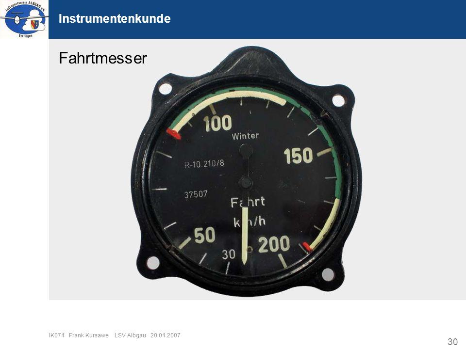 Fahrtmesser Instrumentenkunde