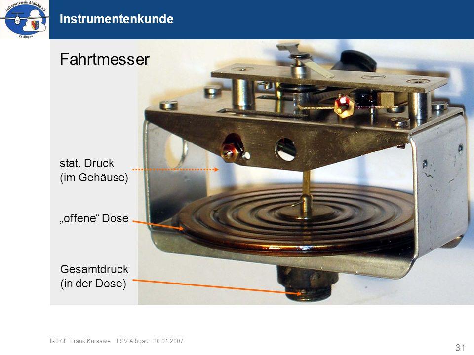 """Fahrtmesser Instrumentenkunde stat. Druck (im Gehäuse) """"offene Dose"""