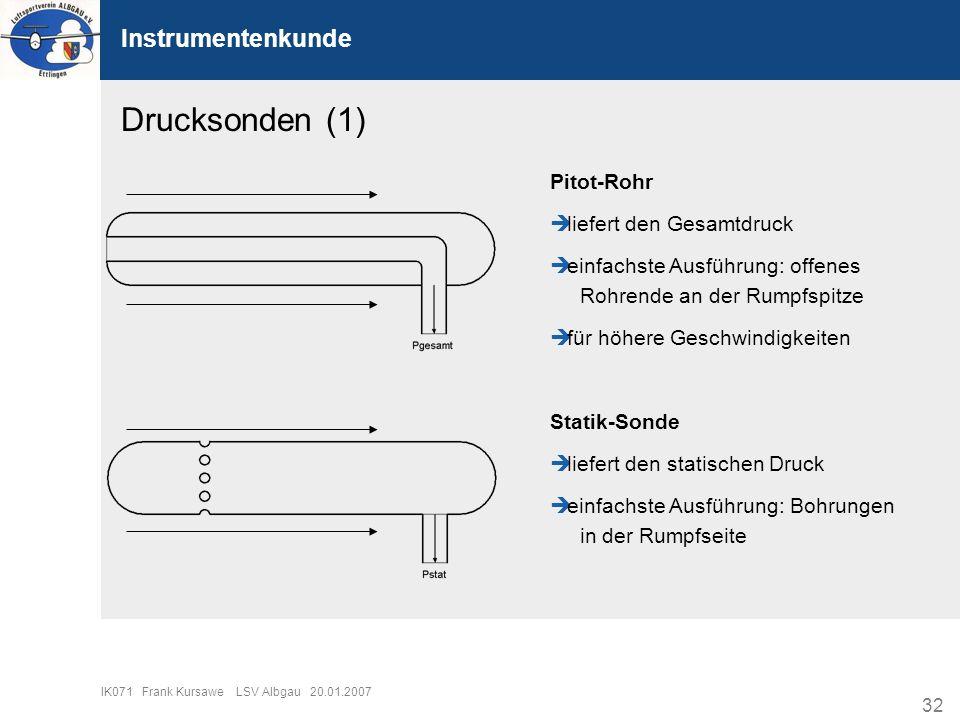 Drucksonden (1) Instrumentenkunde Pitot-Rohr liefert den Gesamtdruck