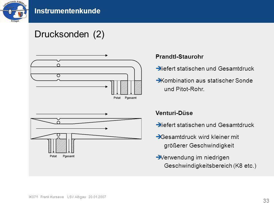 Drucksonden (2) Instrumentenkunde Prandtl-Staurohr