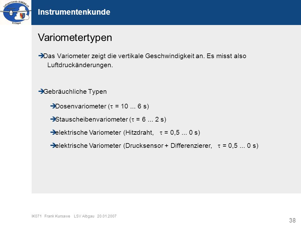 Variometertypen Instrumentenkunde