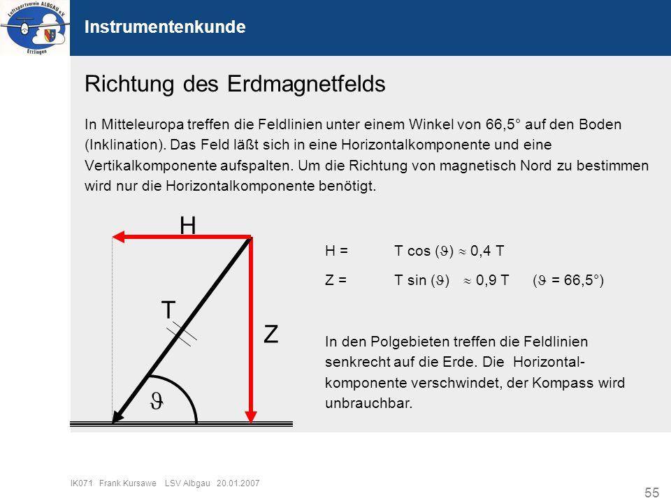 H T Z  Richtung des Erdmagnetfelds Instrumentenkunde