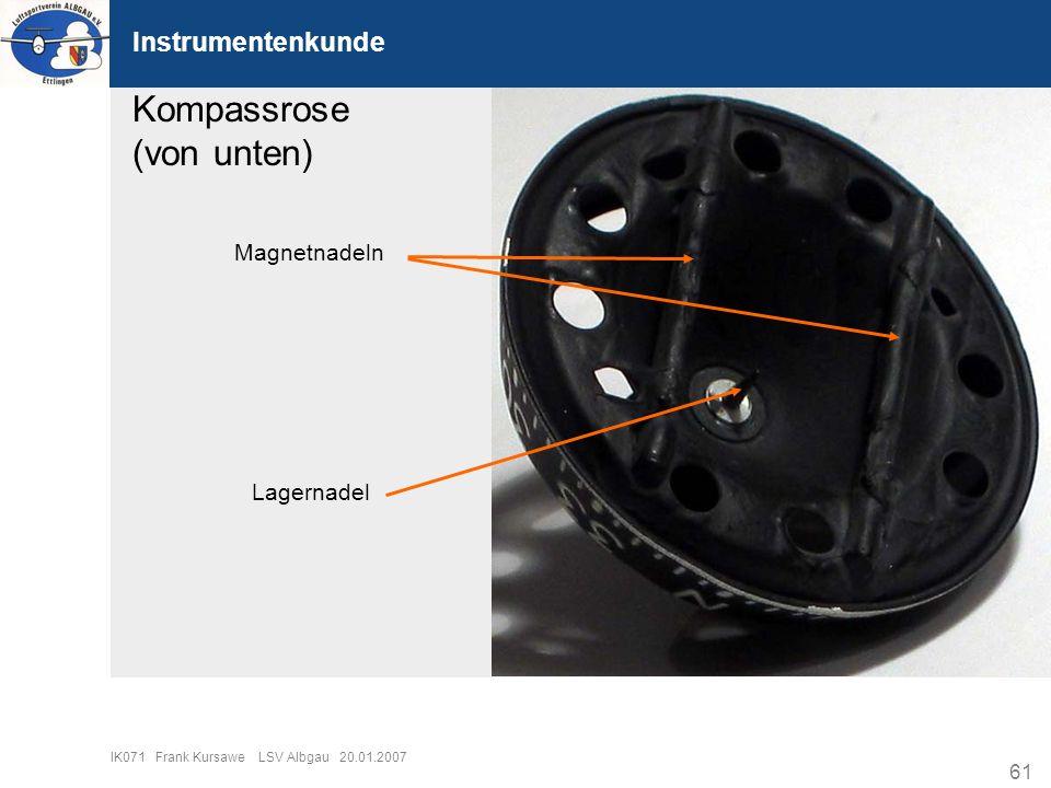 Kompassrose (von unten) Instrumentenkunde Magnetnadeln Lagernadel