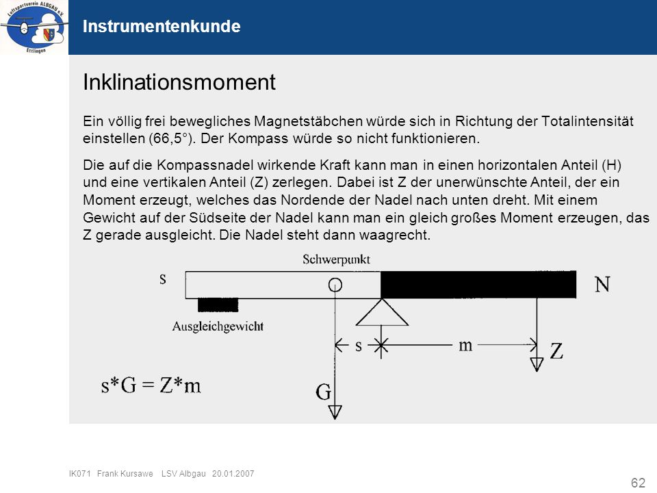 Inklinationsmoment Instrumentenkunde