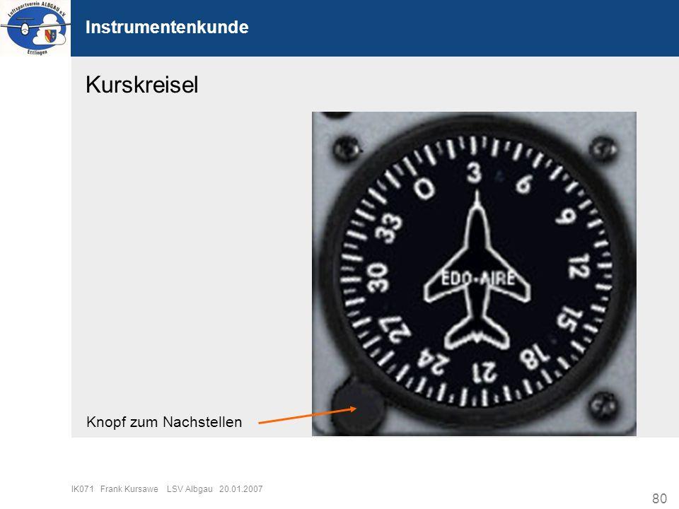 Kurskreisel Instrumentenkunde Knopf zum Nachstellen
