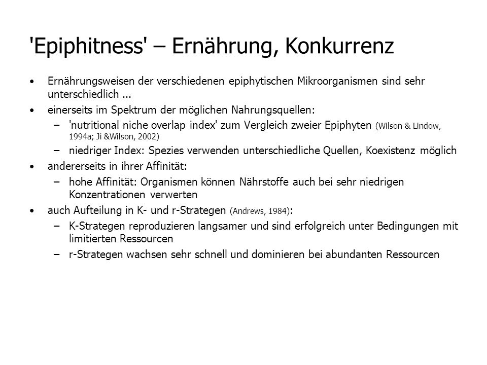 Epiphitness – Ernährung, Konkurrenz