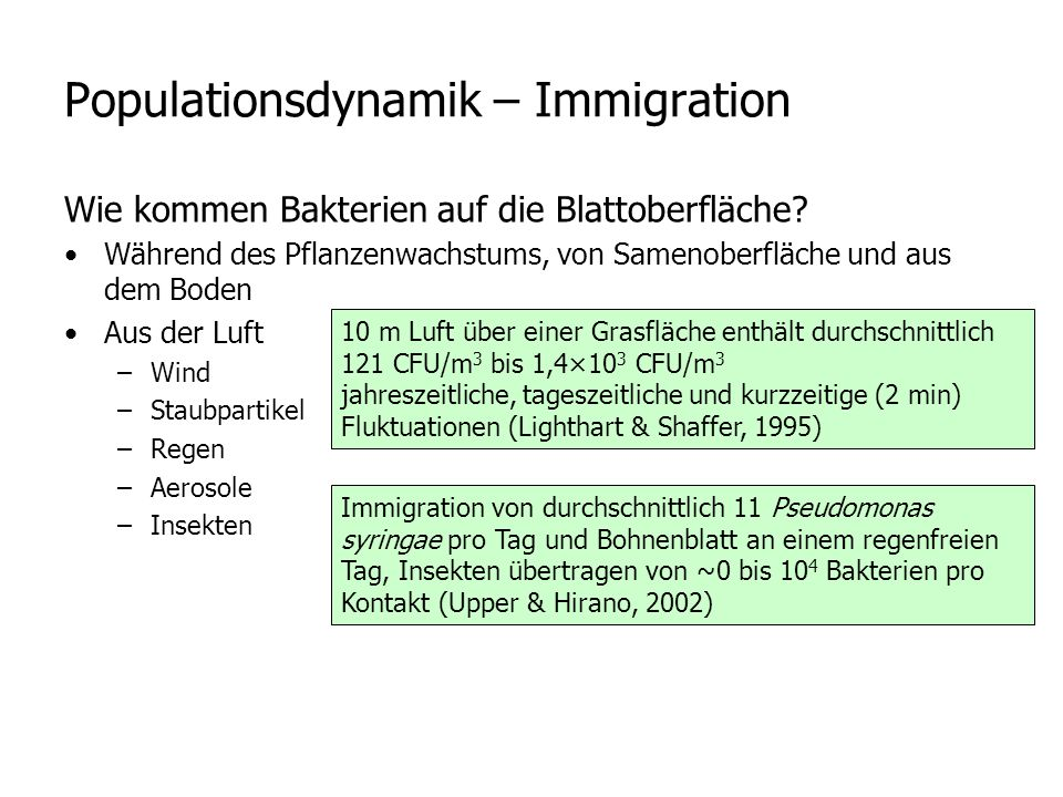 Populationsdynamik – Immigration