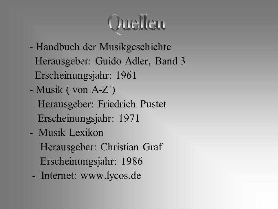 Quellen - Handbuch der Musikgeschichte