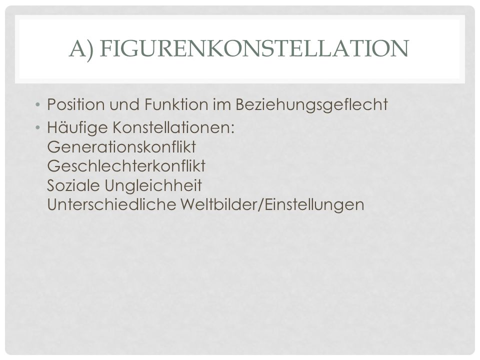 a) Figurenkonstellation