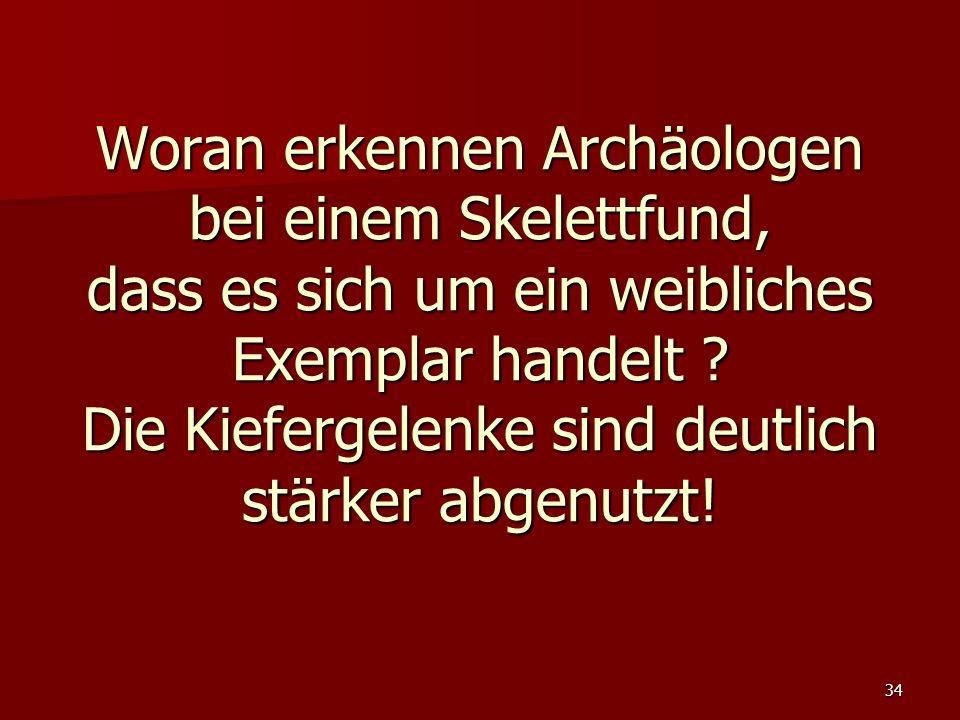 Woran erkennen Archäologen bei einem Skelettfund, dass es sich um ein weibliches Exemplar handelt .