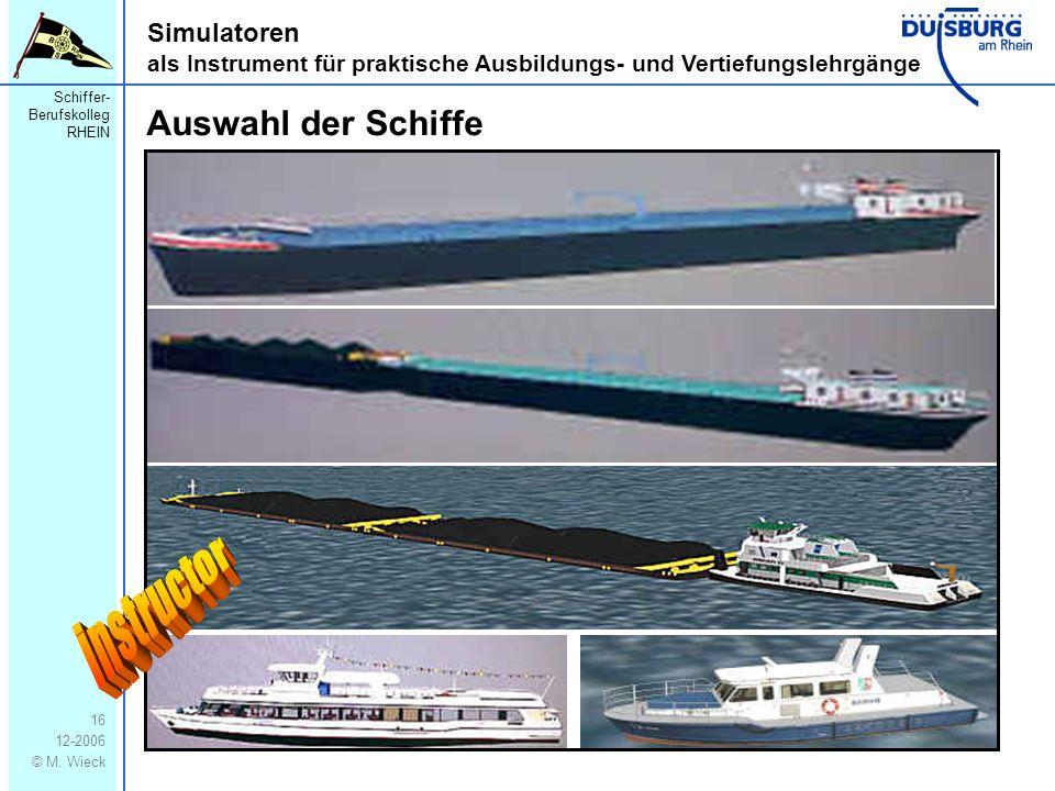 instructor Auswahl der Schiffe