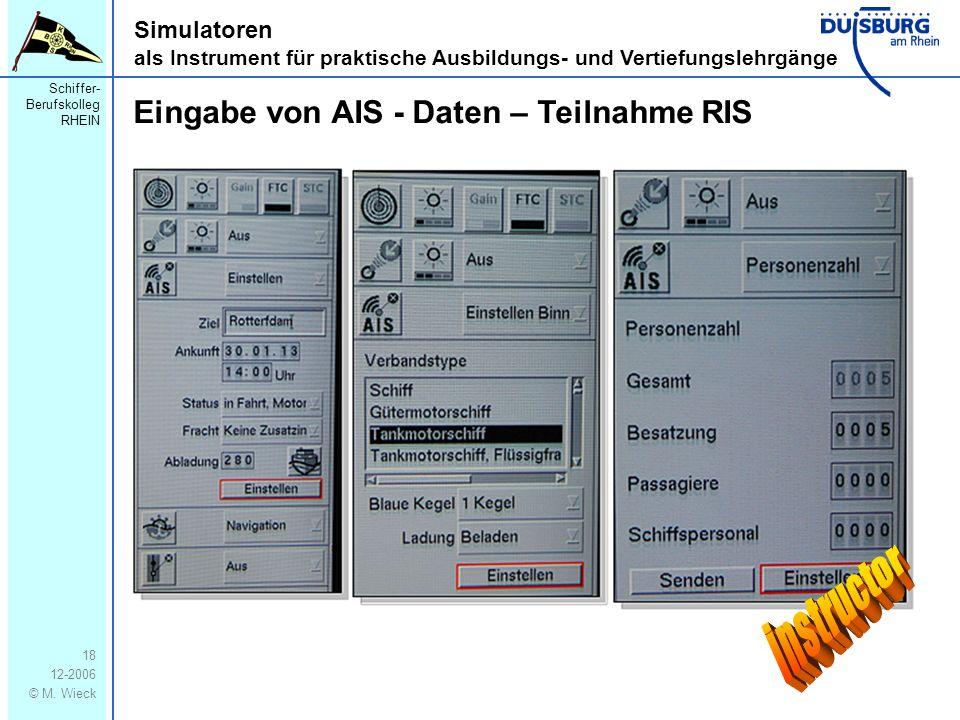 instructor Eingabe von AIS - Daten – Teilnahme RIS
