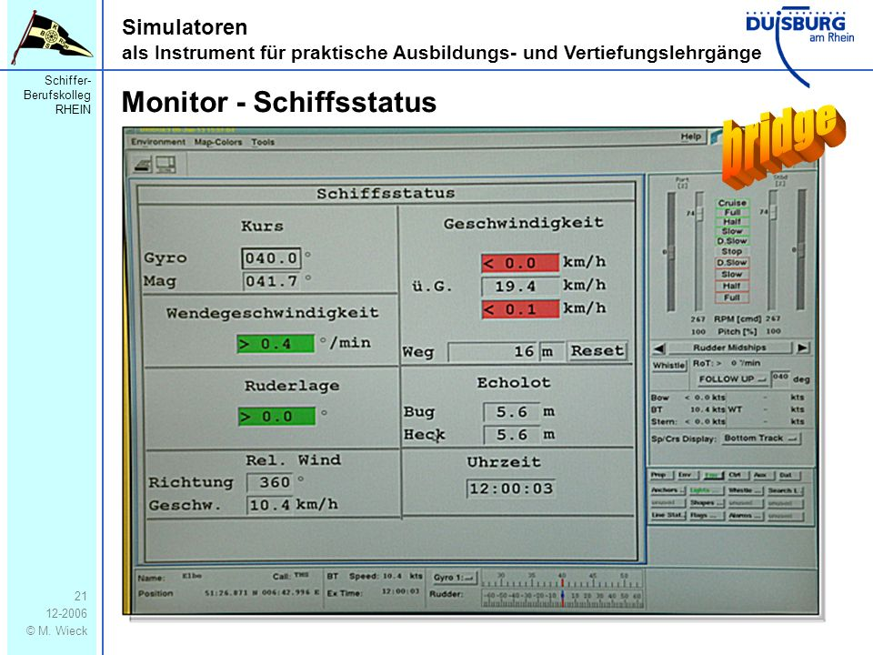 bridge Monitor - Schiffsstatus