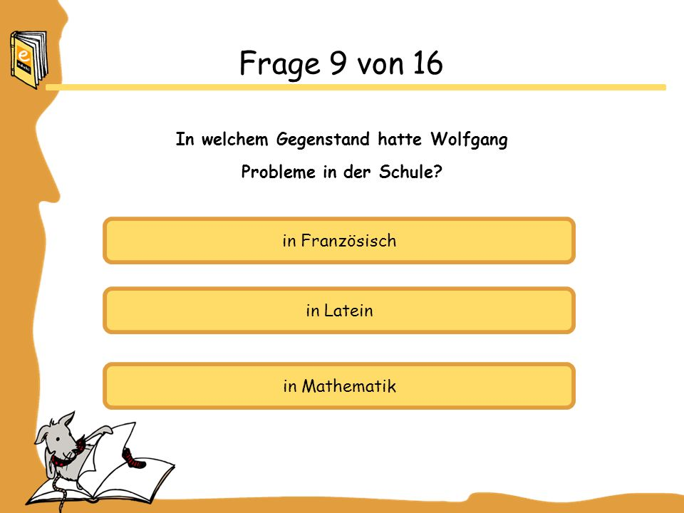 In welchem Gegenstand hatte Wolfgang