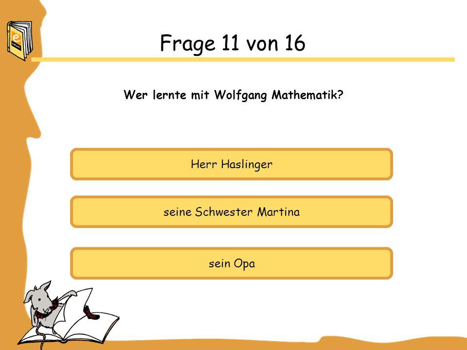 Frage 11 von 16 Wer lernte mit Wolfgang Mathematik Herr Haslinger