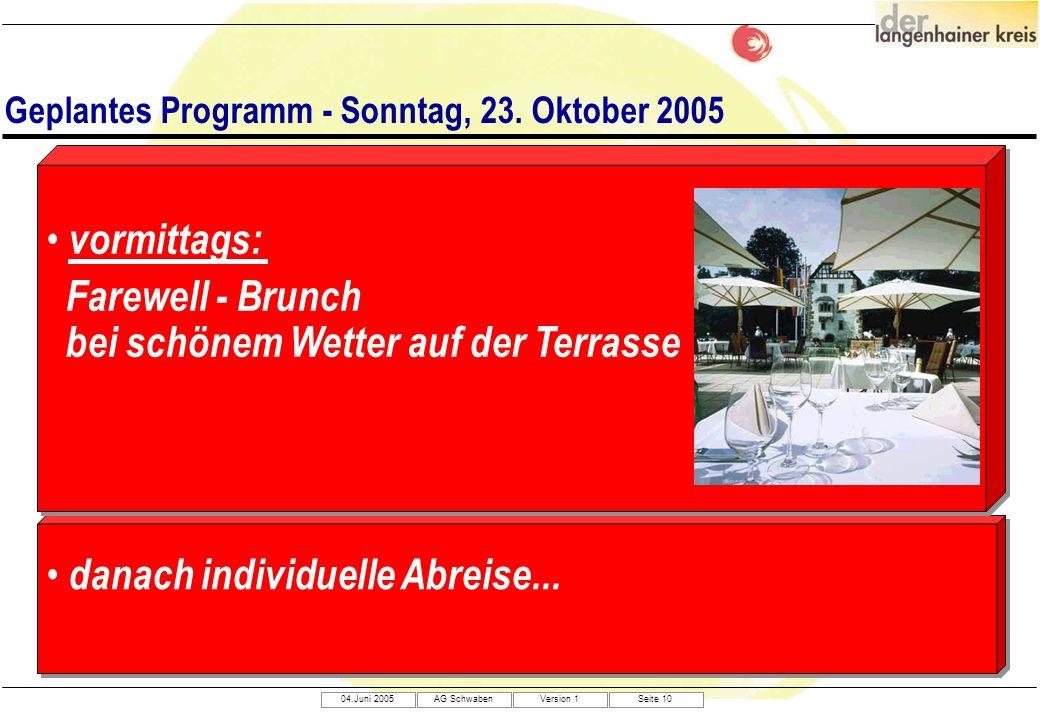 Geplantes Programm - Sonntag, 23. Oktober 2005