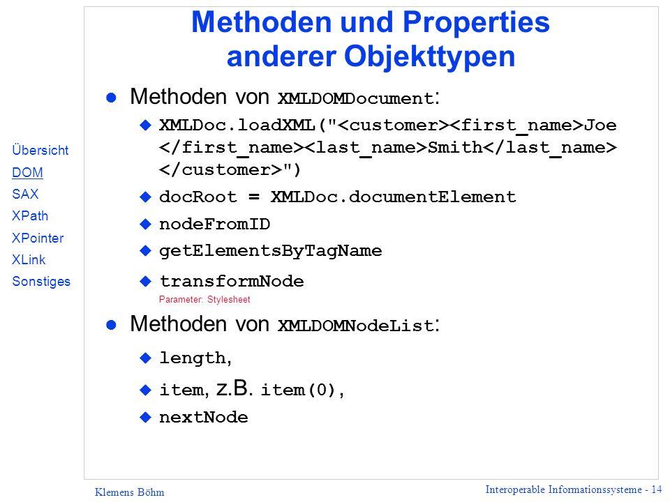 Methoden und Properties anderer Objekttypen
