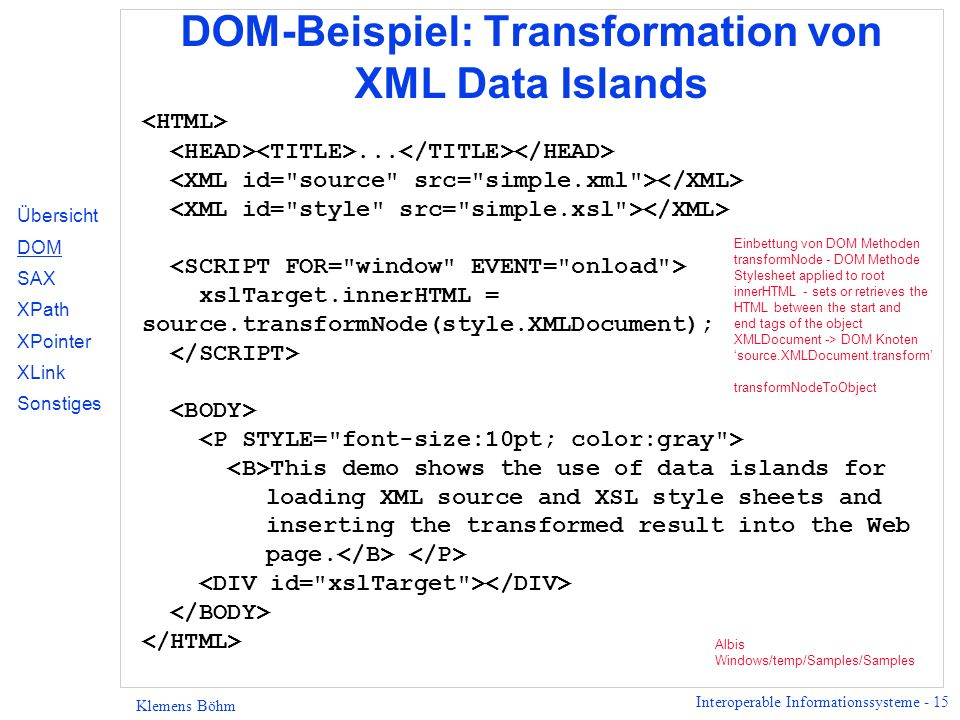 DOM-Beispiel: Transformation von XML Data Islands