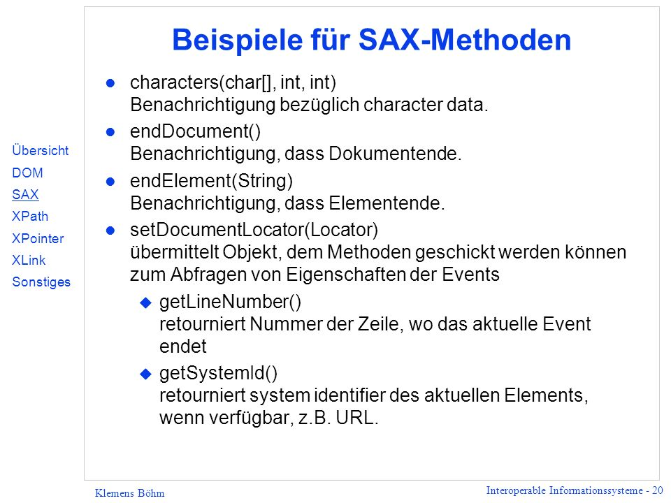 Beispiele für SAX-Methoden