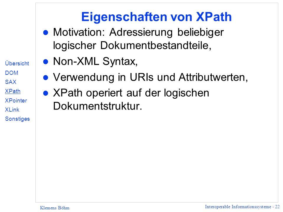 Eigenschaften von XPath