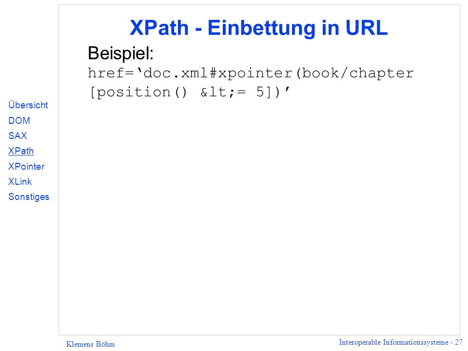XPath - Einbettung in URL
