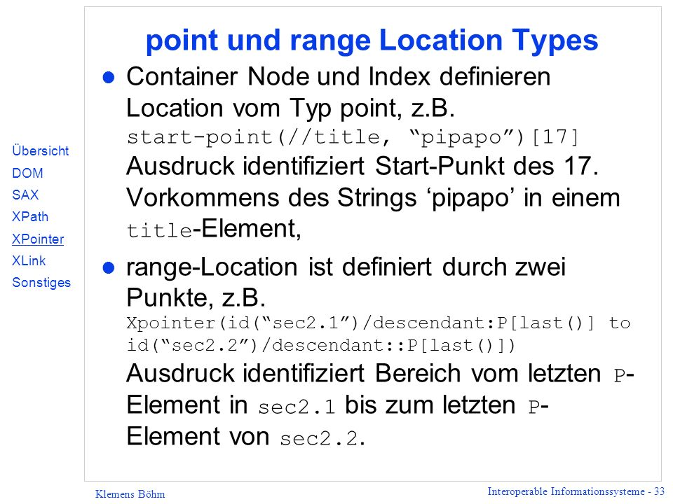 point und range Location Types