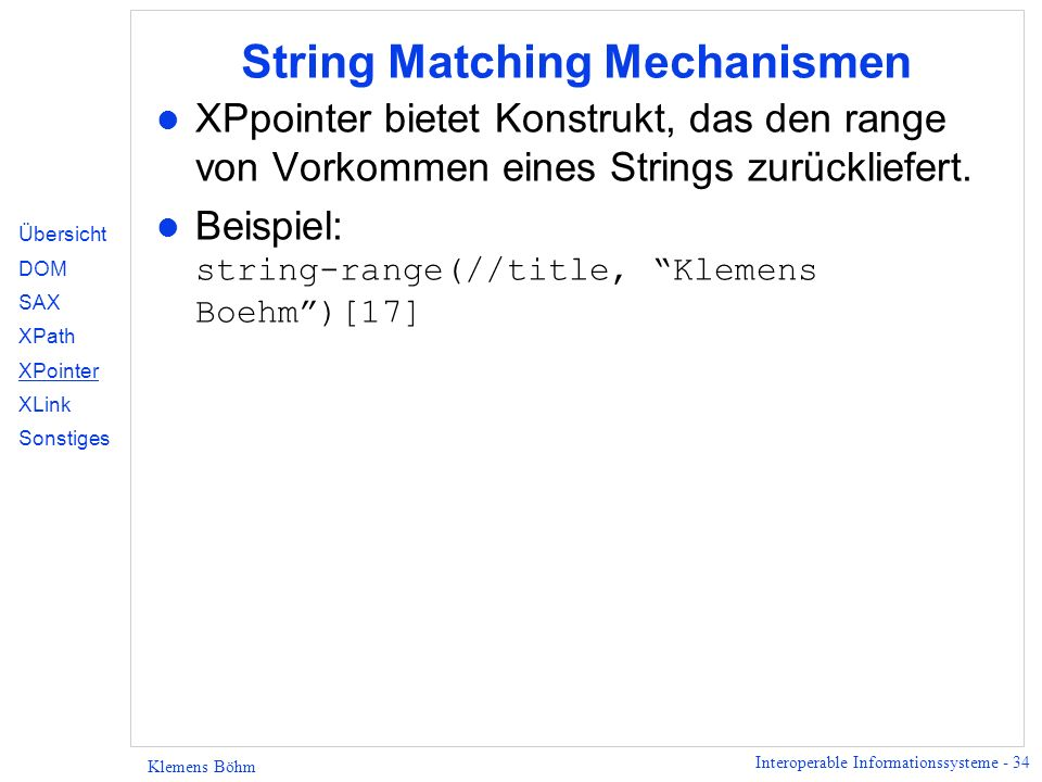 String Matching Mechanismen