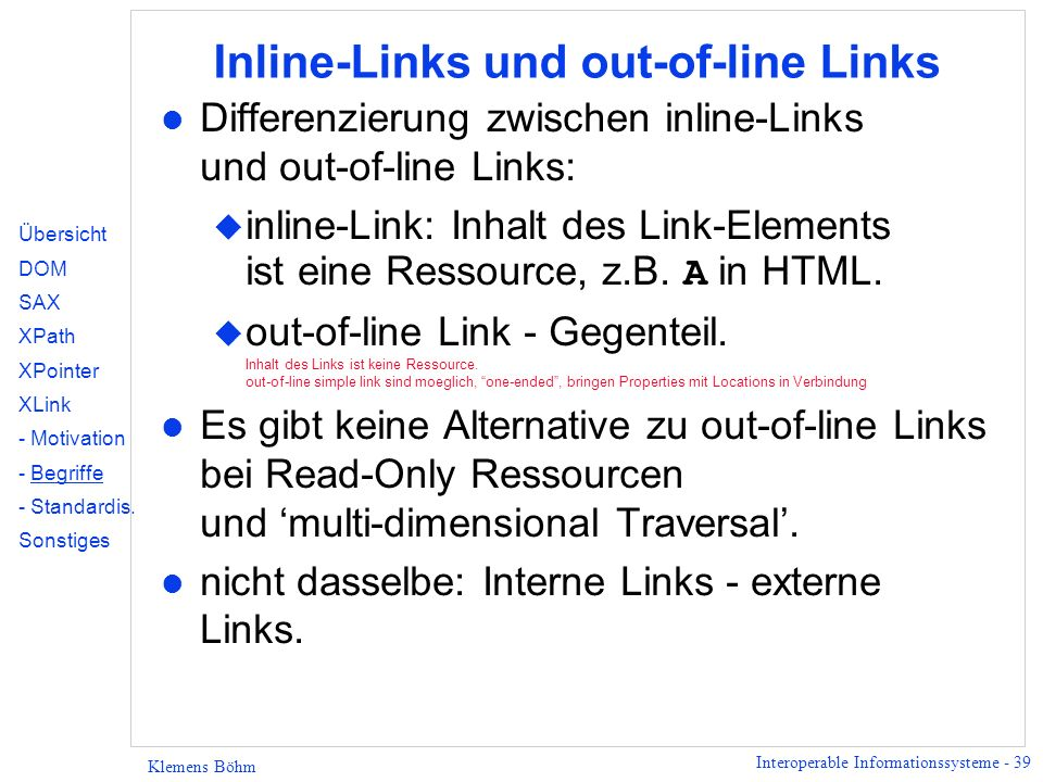 Inline-Links und out-of-line Links