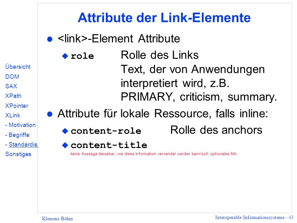 Attribute der Link-Elemente