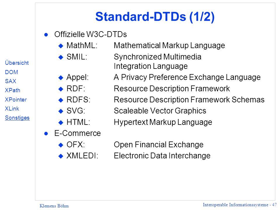 Standard-DTDs (1/2) Offizielle W3C-DTDs