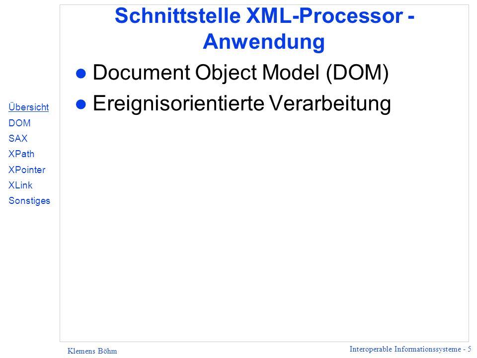 Schnittstelle XML-Processor - Anwendung