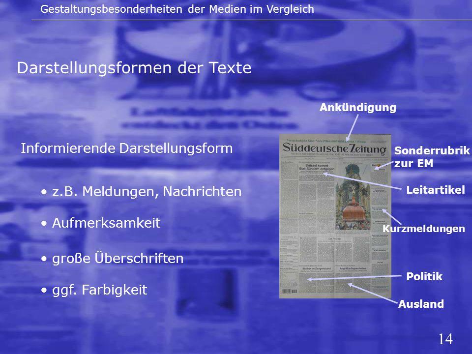 Darstellungsformen der Texte