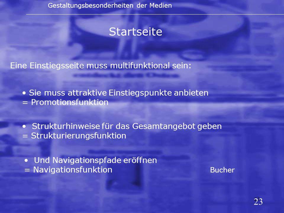 Startseite 23 Eine Einstiegsseite muss multifunktional sein: