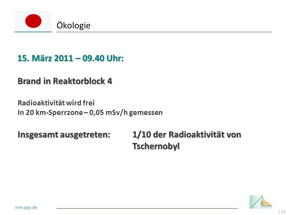 Ökologie 15. März 2011 – 09.40 Uhr: Brand in Reaktorblock 4