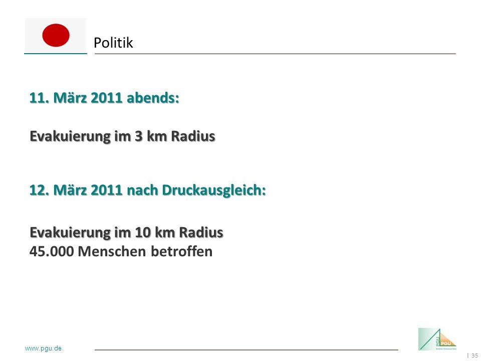 Politik 11. März 2011 abends: Evakuierung im 3 km Radius