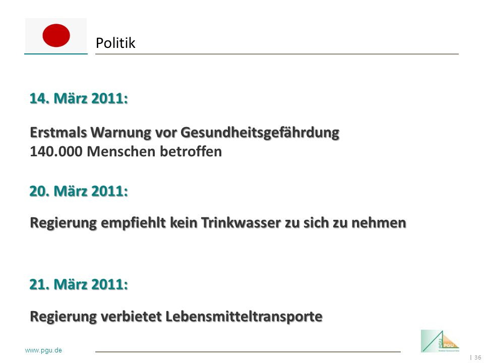 Politik 14. März 2011: Erstmals Warnung vor Gesundheitsgefährdung