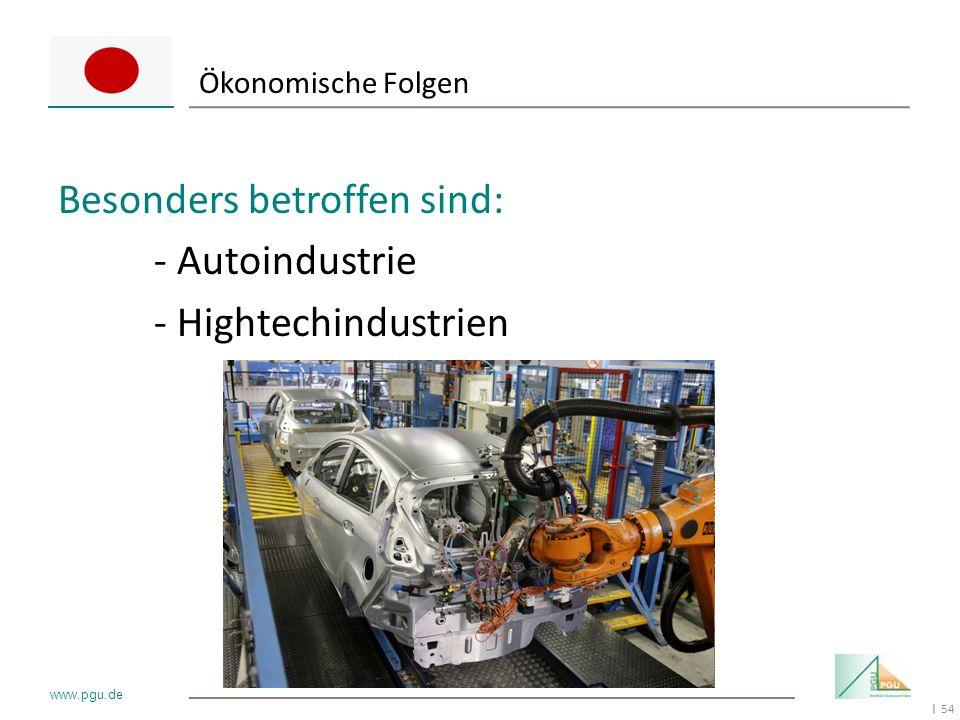 Besonders betroffen sind: - Autoindustrie - Hightechindustrien