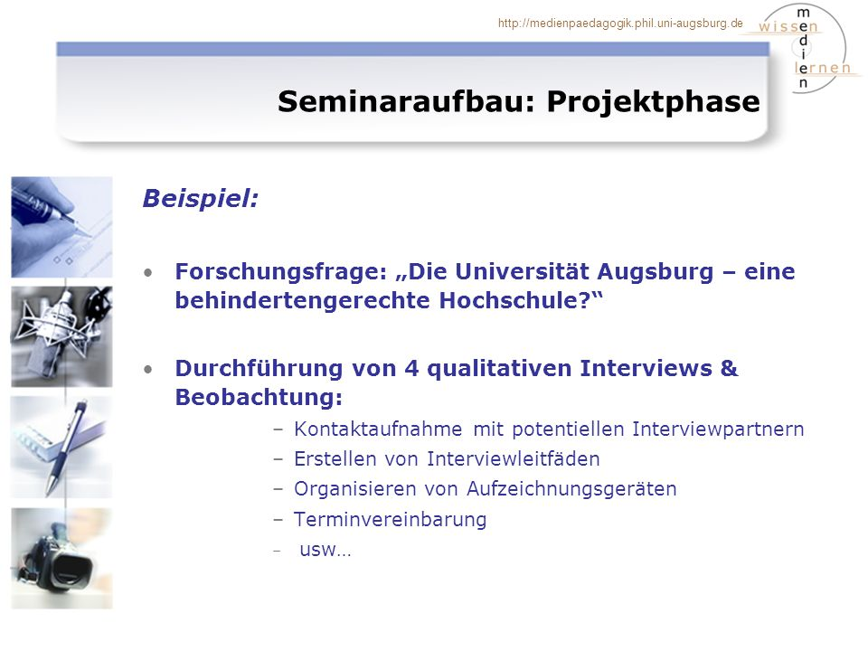 Seminaraufbau: Projektphase